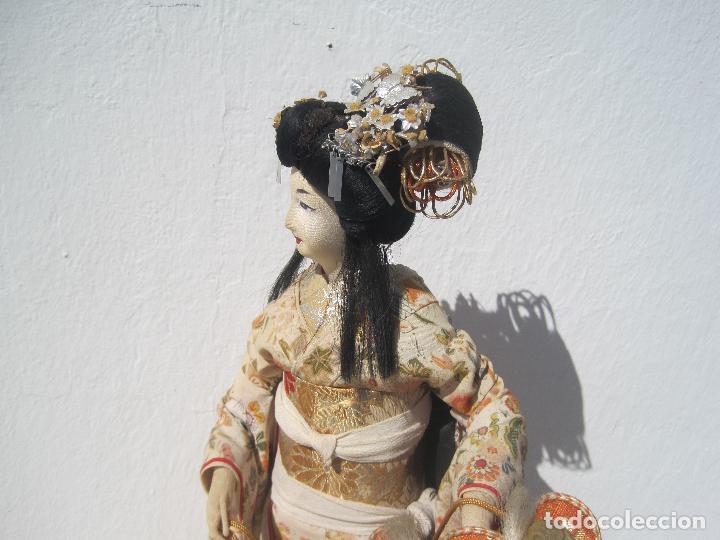 Muñecas Extranjeras: MUÑECA JAPONESA ANTIGUA DE TELA, KIMONO ORIGINAL, 40 CM. AÑOS 40-50 - Foto 6 - 79013517