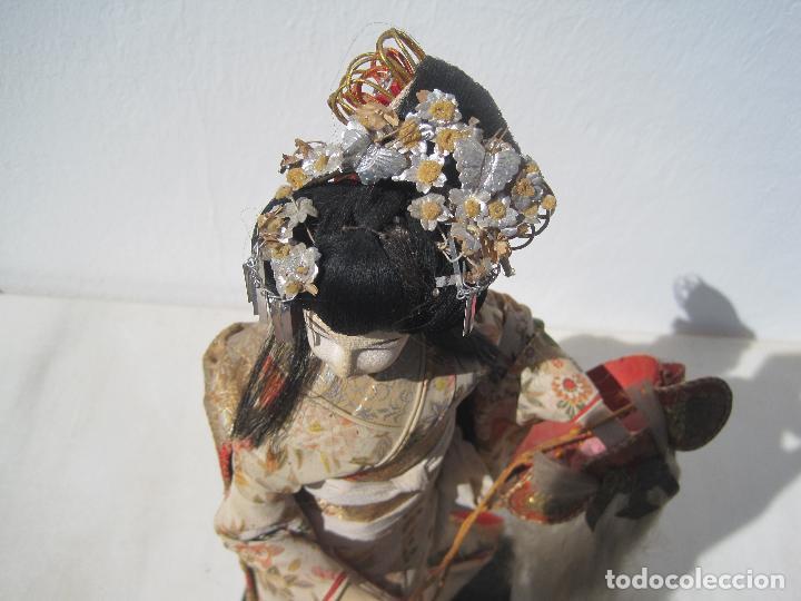 Muñecas Extranjeras: MUÑECA JAPONESA ANTIGUA DE TELA, KIMONO ORIGINAL, 40 CM. AÑOS 40-50 - Foto 7 - 79013517