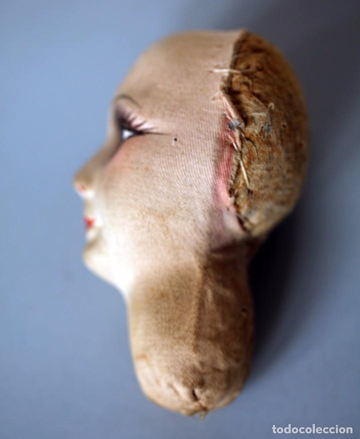 Muñecas Extranjeras: Cabeza de muñeca de cartón piedra con sombrero y relleno de tela. 11x10 cm. - Foto 3 - 87614812