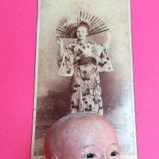 Muñecas Extranjeras: ANTIGUA CABEZA DE MUÑECA JAPONESA SIGLO XIX,PAPEL/CERAMICA,OJOS VIDRIADOS,FOTOGRAFIA DUEÑA,ORIENTAL. Lote 99977151