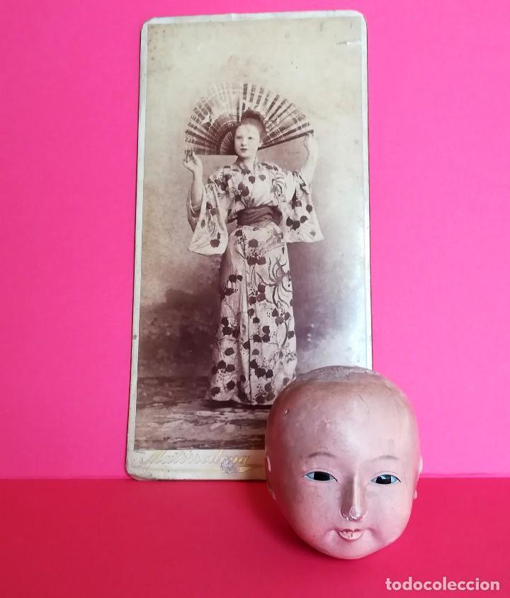 Muñecas Extranjeras: ANTIGUA CABEZA DE MUÑECA JAPONESA SIGLO XIX,PAPEL/CERAMICA,OJOS VIDRIADOS,FOTOGRAFIA DUEÑA,ORIENTAL - Foto 3 - 99977151