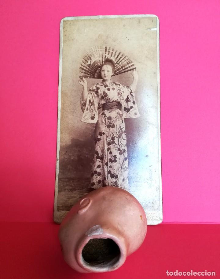 Muñecas Extranjeras: ANTIGUA CABEZA DE MUÑECA JAPONESA SIGLO XIX,PAPEL/CERAMICA,OJOS VIDRIADOS,FOTOGRAFIA DUEÑA,ORIENTAL - Foto 5 - 99977151