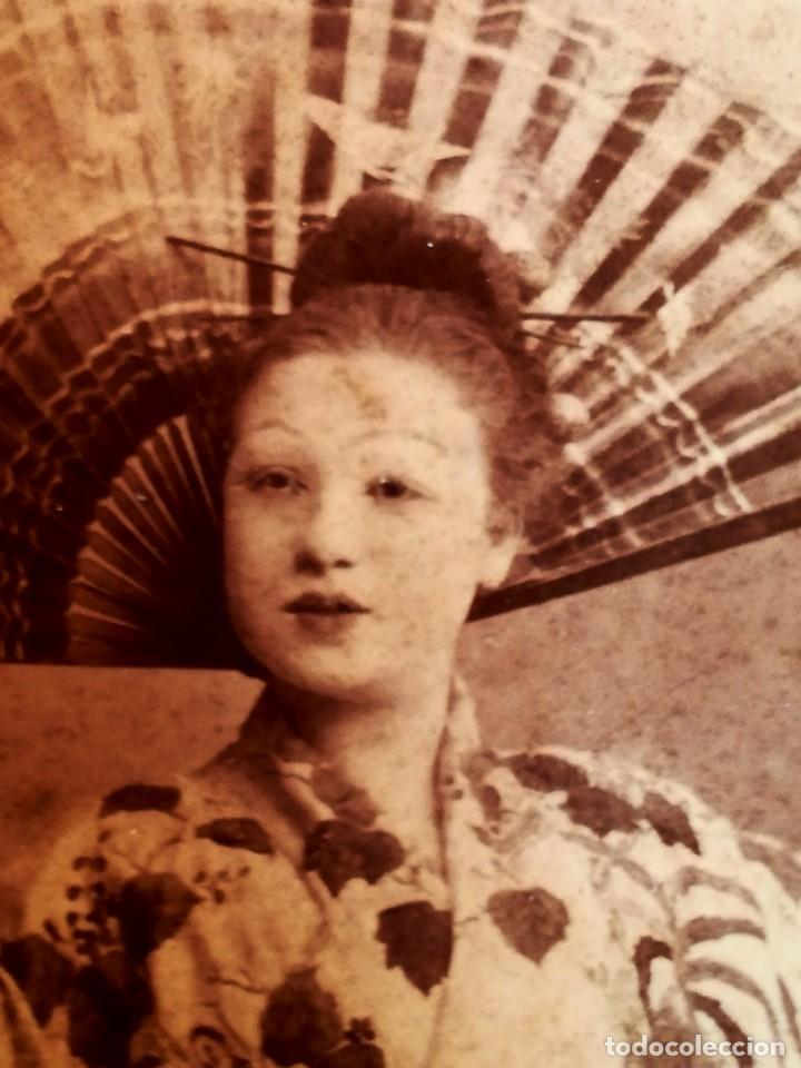 Muñecas Extranjeras: ANTIGUA CABEZA DE MUÑECA JAPONESA SIGLO XIX,PAPEL/CERAMICA,OJOS VIDRIADOS,FOTOGRAFIA DUEÑA,ORIENTAL - Foto 12 - 99977151