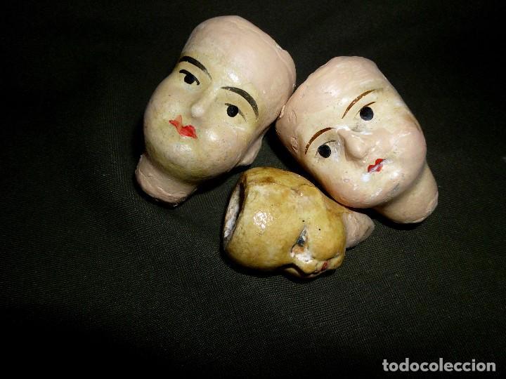 LOTE DE TRES CABEZAS ANTIGUAS DE MUÑECAS ALEMANAS (Juguetes - Muñeca Extranjera Antigua - Otras Muñecas)