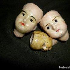 Muñecas Extranjeras: LOTE DE TRES CABEZAS ANTIGUAS DE MUÑECAS ALEMANAS. Lote 111044815
