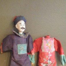 Muñecas Extranjeras: MUÑECO CHINO ORIENTAL ANTIGUO Y GEISHA ( CABEZA INCOMPLETA). Lote 112885752