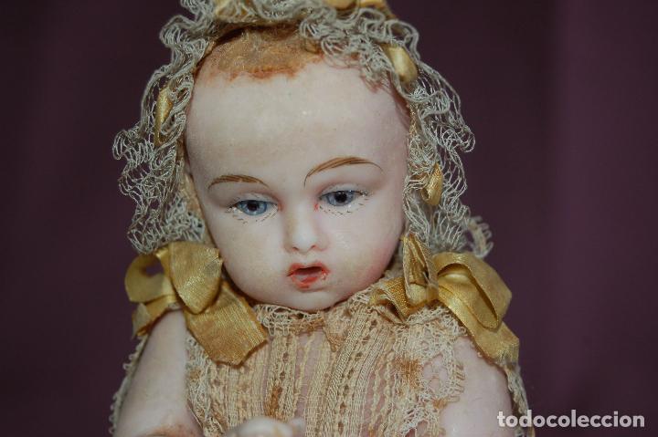 Muñecas Extranjeras: bebé de cera antiguo en cúpula - Foto 4 - 127497311