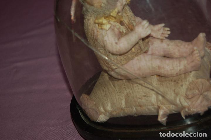 Muñecas Extranjeras: bebé de cera antiguo en cúpula - Foto 7 - 127497311