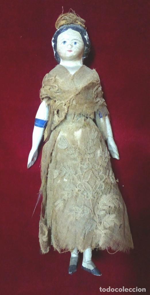 MUÑECA ANTIGUA EN PAPEL MACHE. HACIA 1830-1840. (Juguetes - Muñeca Extranjera Antigua - Otras Muñecas)