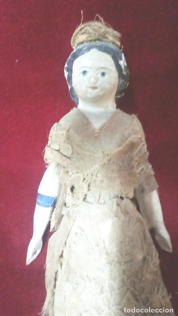 Muñecas Extranjeras: Muñeca antigua en papel mache. Hacia 1830-1840. - Foto 4 - 134826238