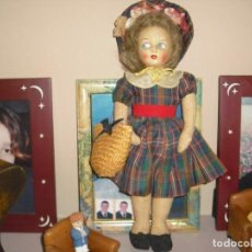 Muñecas Extranjeras: MUÑECA ALMA,TELA PRENSADA,TODO ORIGINAL,PERFECTA 36 CMS AÑOS 30. Lote 151305898