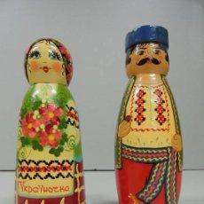 Muñecas Extranjeras: PAREJA DE ANTIGUOS MUÑECAS DE UCRANIA VESTIDOS NACIONALES. Lote 160432578