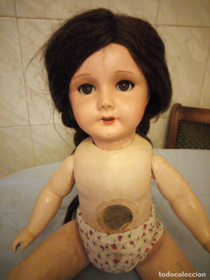Muñecas Extranjeras: Preciosa muñeca cartón piedra,ojos de cristal durmientes,pelo natural, jne 9 - Foto 8 - 169956874