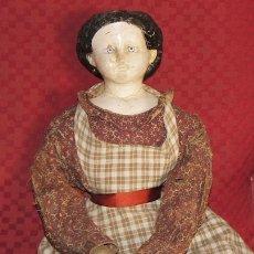 Muñecas Extranjeras: ANTIGUA MUÑECA MORENA DE PAPEL MACHÉ DE LA DÉCADA DEL 1800'S. Lote 175049597