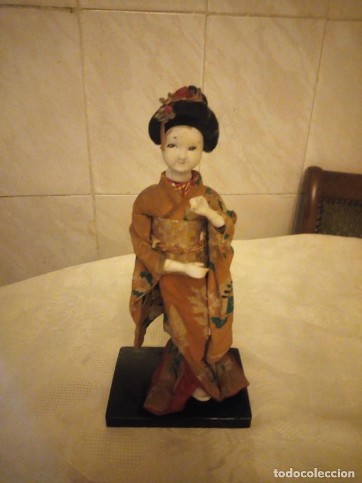 MUÑECA GEISHA MADE IN JAPAN PRINCIPIOS DE SIGLO XX,PASTAS,MADERA,TEJIDO Y PELO DE MOAHIR (Juguetes - Muñeca Extranjera Antigua - Otras Muñecas)