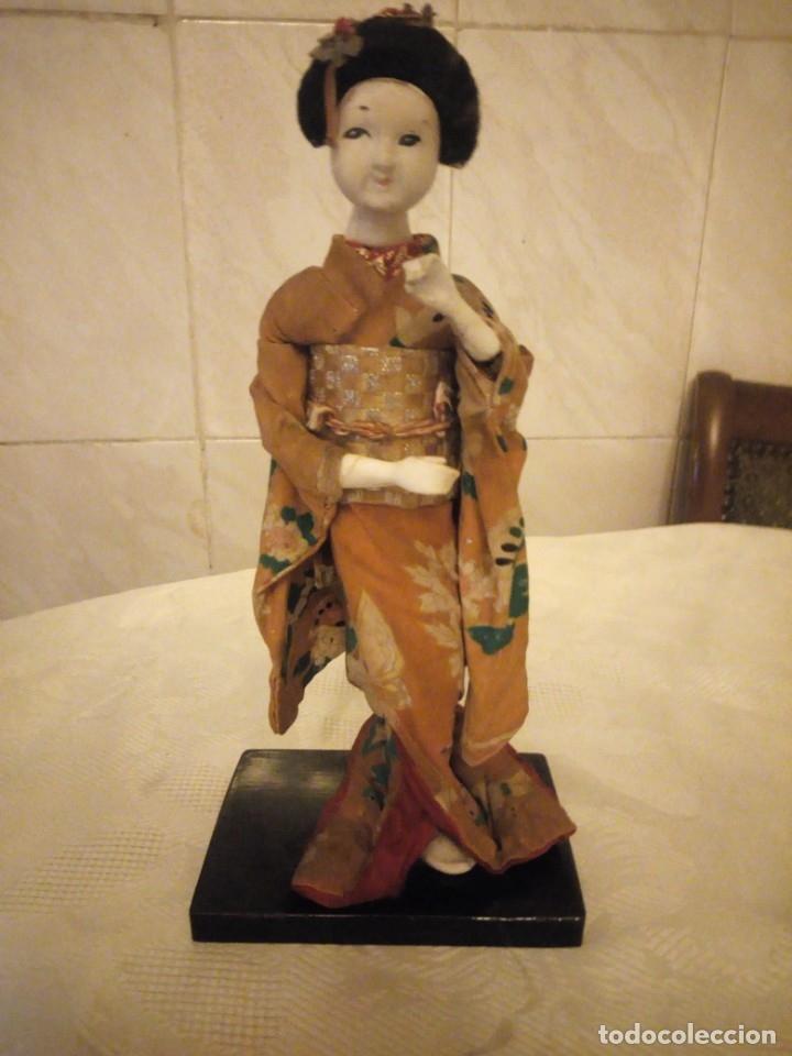 Muñecas Extranjeras: MUÑECA GEISHA MADE IN JAPAN PRINCIPIOS DE SIGLO XX,pastas,madera,tejido y pelo de moahir - Foto 3 - 182033010