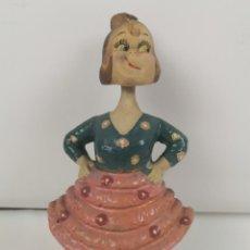 Muñecas Extranjeras: FLAMENCA. PASTA CON MADERA. CABEZA Y CUERPO BASCULANTE. PINTADO A MANO. ESPAÑA. SIGLO XIX.. Lote 183365896