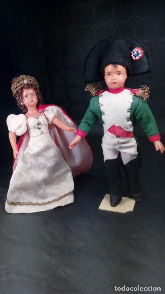 NAPOLEÓN BONAPARTE Y JOSEFINA. MUÑECOS CELULOIDE. OJOS PINTADOS. ARTESANALES. TIPO PETITCOLLIN. (Juguetes - Muñeca Extranjera Antigua - Otras Muñecas)