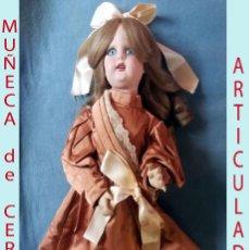 Muñecas Extranjeras: ANTIGUA MUÑECA ARTICULADA TODOS LOS MIEMBROS DE CERÁMICA CON Nº 10 EN NUCA.DE 55 CMS.POSIBLE FRANCIA. Lote 194225725