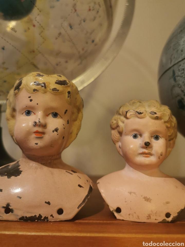 ANTIGUAS CABEZAS EN METAL DE MUÑECAS MINERVA. FABRICADA EN ALEMANIA (Juguetes - Muñeca Extranjera Antigua - Otras Muñecas)
