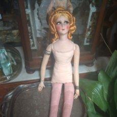 Muñecas Extranjeras: ANTIGUA MUÑECA BOUDOIR - TRAPO - TELA - 90CM -. Lote 212000886