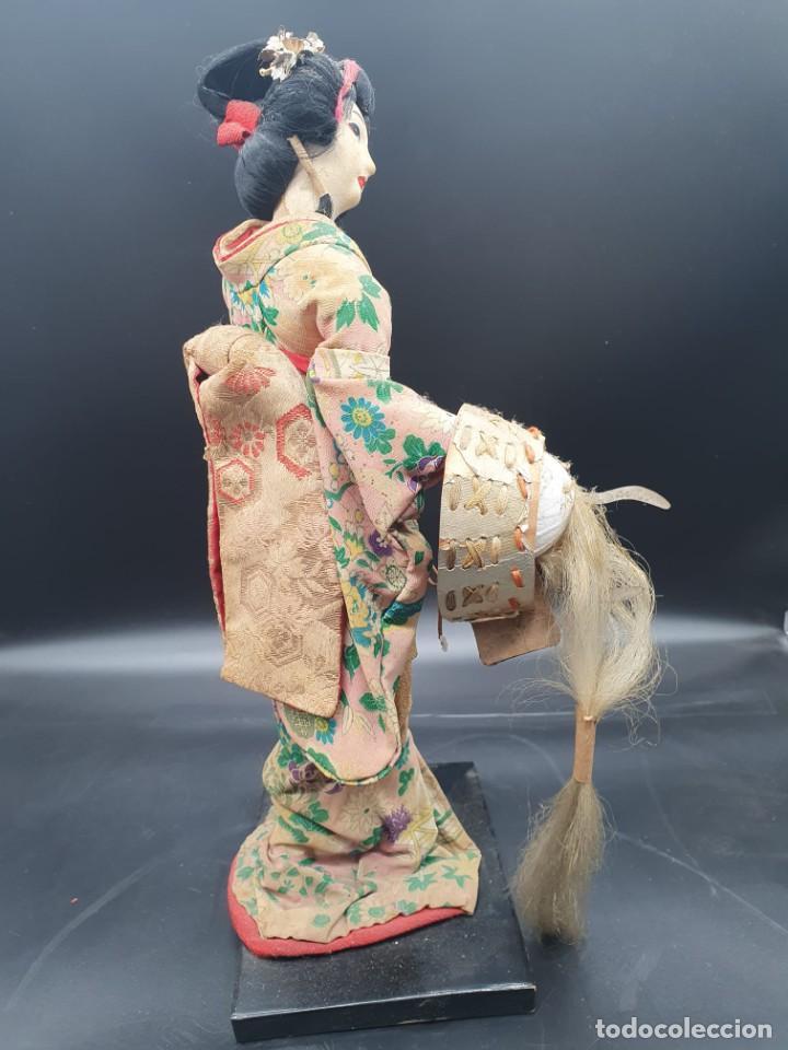 Muñecas Extranjeras: muñeca antigua geisha pintada a mano y con pelo natural de los años 70 - Foto 7 - 221815450