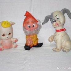Muñecas Lesly y Barriguitas: LOTE 3 MUÑECOS DE GOMA-ENAITO FAMOSA-PERRO FAMOSA-OSITO FARMI. AÑOS 60-70. Lote 91945745