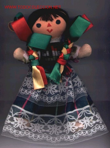 MUÑECA DE TRAPO MEXICANA, HECHA TOTALMENTE A MANO EN MÉXICO. CON TRAJE TÍPICO. (Juguetes - Muñeca Extranjera Moderna - Otras Muñecas)
