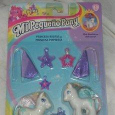 Muñecas Modernas: MI PEQUEÑO PONY,PRINCESA RISITAS Y PRINCESA PIZPIRETA,HASBRO,1999,BLISTER A ESTRENAR. Lote 27408788
