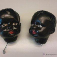 Muñecas Modernas: MUÑECAS ANTIGUAS, 2 CABEZAS DE NIÑO NEGRO AÑOS 30/40,YESO PATINADO. Lote 39738154