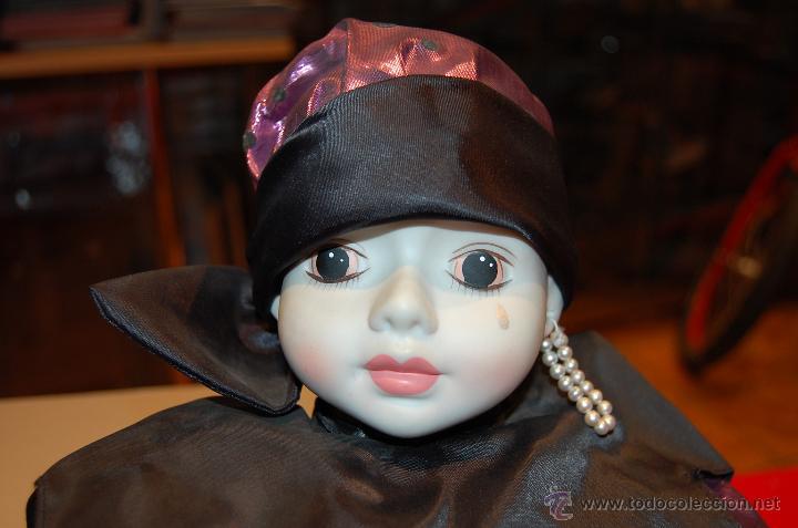 Muñecas Modernas: Pierrot de porcelana y cuerpo de relleno. Grande. - Foto 2 - 40063806