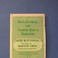 Muñecas Modernas: CABBAGE PATCH KIDS MUÑECA REPOLLO – MARYLIN CORAL CERTIFICADO NACIMIENTO 1978-84 TODO ORIGINAL. Lote 44194600