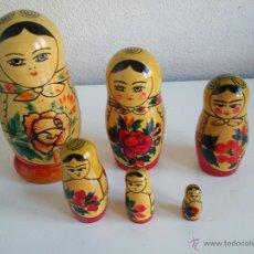 Muñecas Modernas: COLECION DE 6 MONECAS RUSSAS HECHAS DE MADERA HECHAS Y PINTADAS A MANO MAD RUSSE. Lote 49703223