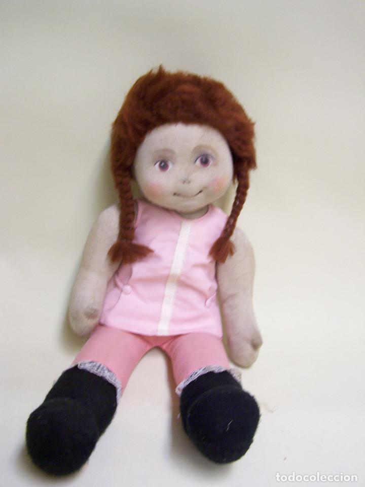 Muñecas Modernas: Muñeca de trapo, con cara pintada y pelo de lana. Años 70. Altura: 52 cm. - Foto 3 - 75873571