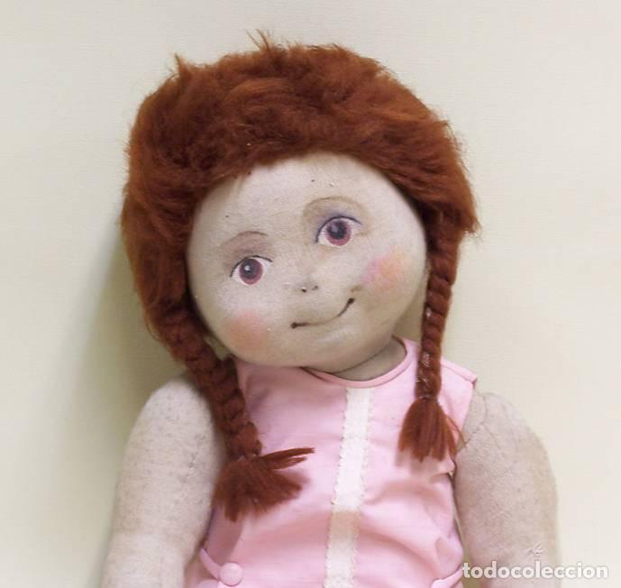 Muñecas Modernas: Muñeca de trapo, con cara pintada y pelo de lana. Años 70. Altura: 52 cm. - Foto 4 - 75873571
