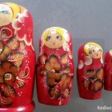 Moderne Puppen - PRECIOSAS MATRIOSHKA. 5 MUÑECAS RUSAS DE MADERA PINTADAS A MANO. VINTAGE - 111243407
