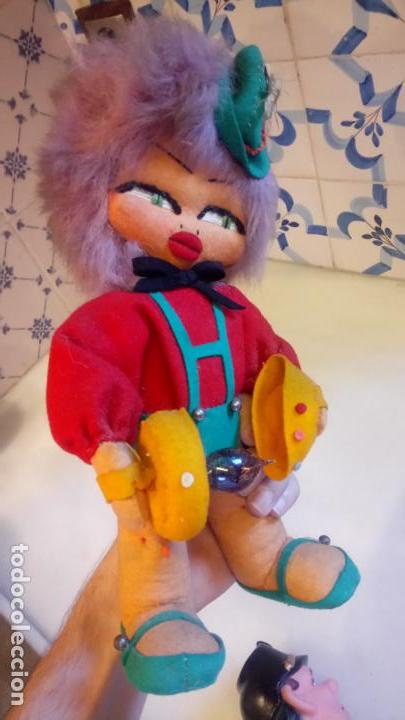 Muñecas Modernas: Antiguo muñeco payaso de ropa con luz incorporada - Foto 4 - 142782246