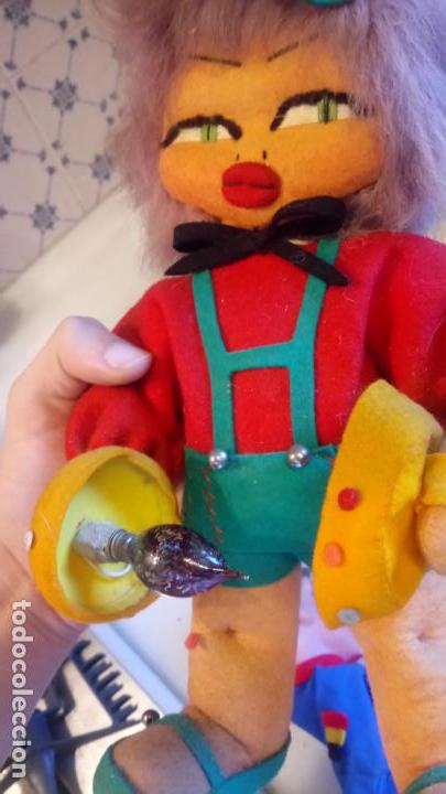 Muñecas Modernas: Antiguo muñeco payaso de ropa con luz incorporada - Foto 5 - 142782246