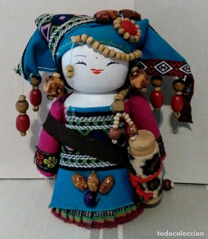 Campesina Tela De Japonesa Con Muñeca Traje Kokeshi Madera Tradicional Y PkXZui