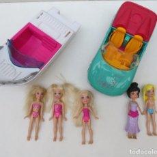 Muñecas Modernas: LOTE DE 5 MUÑECAS POLLY POCKET MAS COCHE Y BARCO. Lote 178260611