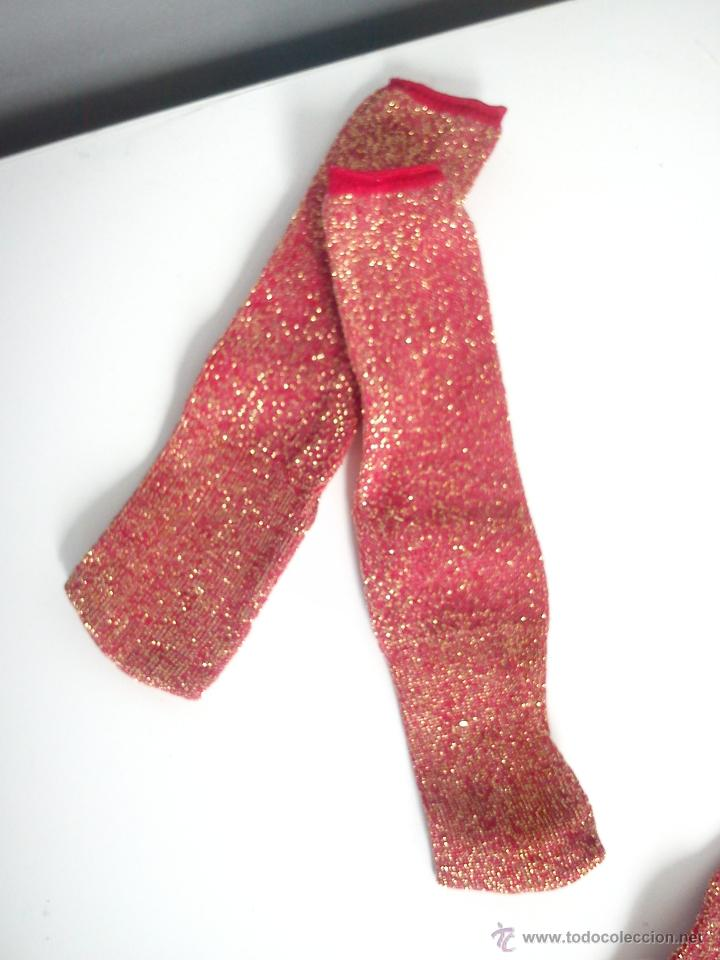 Muñecas Nancy y Lucas: Medias de Nancy pierna entera.Rojo con brillos dorados. Originales. Nuevas. - Foto 2 - 45411611