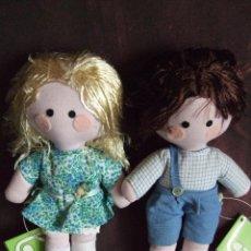 Muñecas Nancy y Lucas: ANTIGUOS MUÑECO, MUÑECA D TRAPO, NIÑO Y NIÑA. PELO D SEDA. FABRICADOS POR LACY. PAREJA. 80S. Lote 110277707