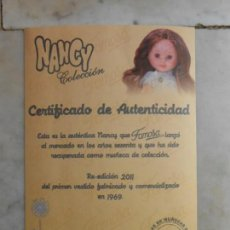 Muñecas Nancy y Lucas: NANCY COLECCION CERTIFICADO DE AUTENTICIDAD RE-EDICION 2011. Lote 139127005