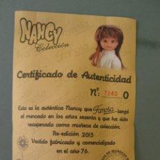 Muñecas Nancy y Lucas: LOTE 118469011 CERTIFICADO DE AUTENTICIDAD DE NANCY COLECCION MAÑANA DE INVIERNO. Lote 152227334