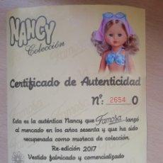 Bonecas Nancy e Lucas: NANCY CERTIFICADO DE AUTENTICIDAD PLAYA Y CAJA NANCY PLAYA PLEGADA. Lote 192044155