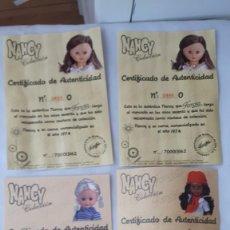 Muñecas Nancy y Lucas: NANCY LOTE DE CERTIFICADOS ORIGINALES. Lote 200180816