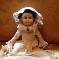 Muñecas Porcelana: MUÑECA VESTIDA DE NOVIA.CABEZA BOCA Y CRÁNEO CERRADO DE BISCUIT. Lote 71915587