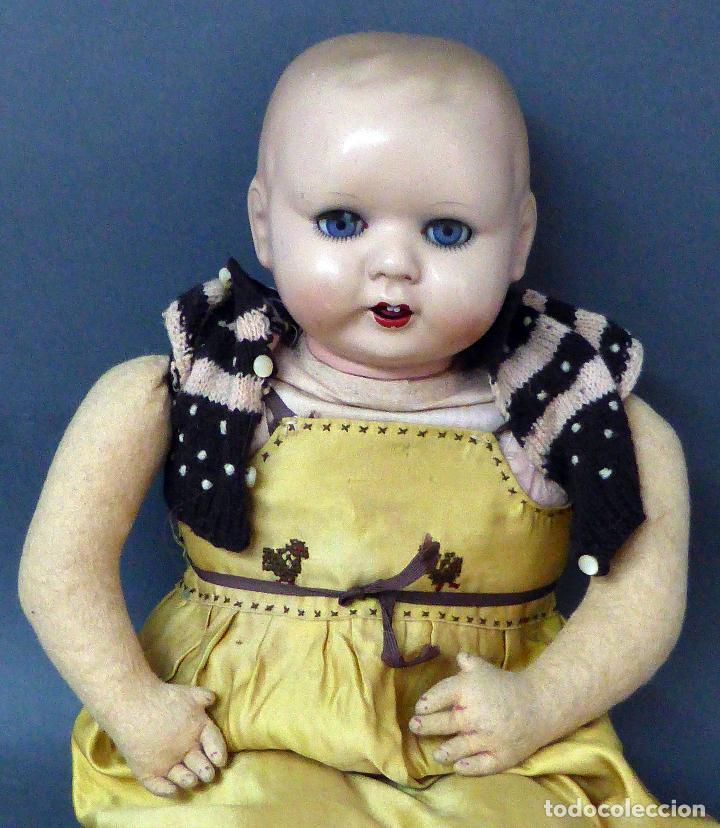 Muñecas Porcelana: Bebé alemán cabeza porcelana cuerpo trapo marca nuca Germany M 11 nº 3 CC 50 cm alto ropa original - Foto 2 - 103283671