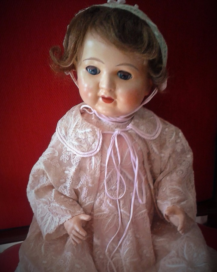 Muñecas Porcelana: ENORME MUÑECO BEBE DE PORCELANA ALEMÁN SIGLO XIX ,MARCADO ,ROPAS ORIGINAL - Foto 8 - 105138871