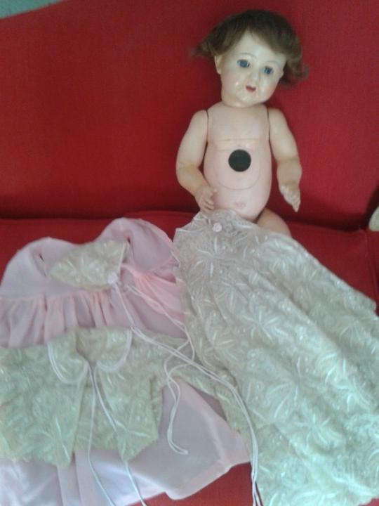 Muñecas Porcelana: ENORME MUÑECO BEBE DE PORCELANA ALEMÁN SIGLO XIX ,MARCADO ,ROPAS ORIGINAL - Foto 10 - 105138871